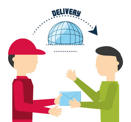 courtier delivery giving out the message vector illustration