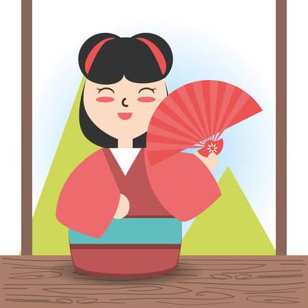 woman with kimono and fun decoration desgn vector illustration