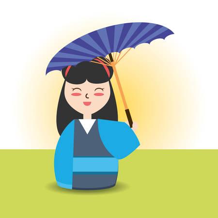 woman with kimono and umbrella decoration desgn vector illustration Illustration