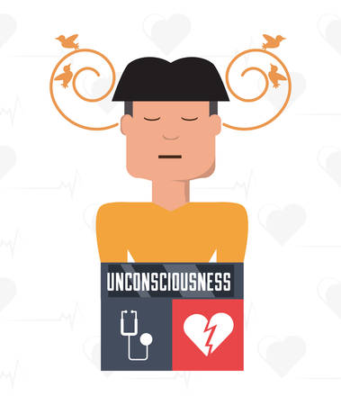 man with heart atack symptoms and condition vector illustration Illustration