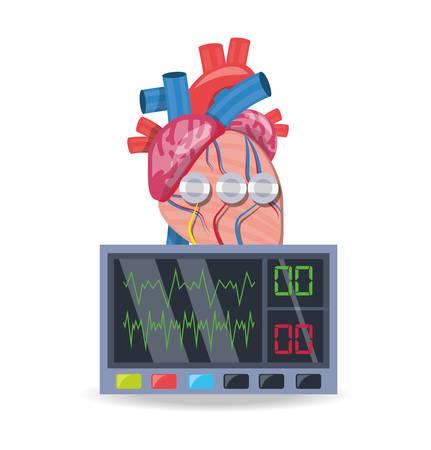 electrocardiograpy machine to know cardiac rhythm vector illusstration