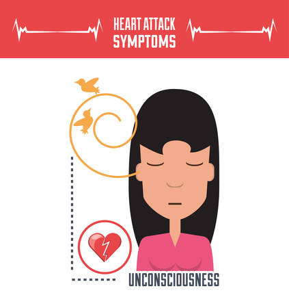 woman with heart attack symptoms and condition vector illustration