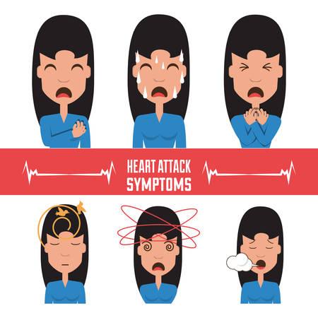 set woman heart attack symptoms vector illustration Vector Illustration