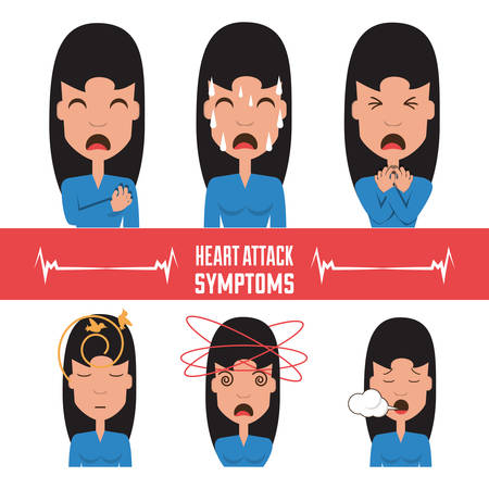 set woman heart attack symptoms vector illustration Illustration
