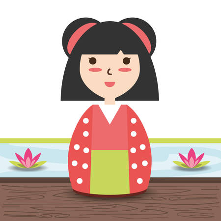 beauty woman with kimono and hairstyle design vector illustration Illustration