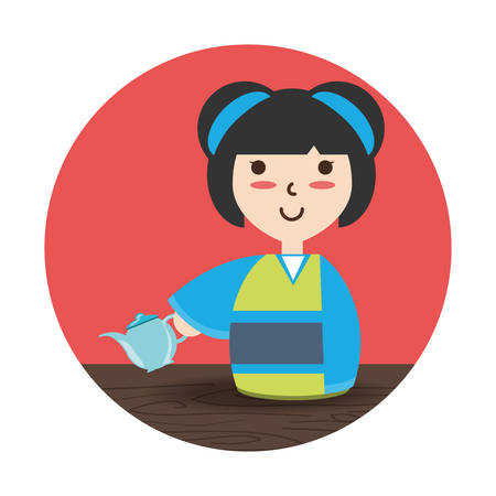 woman with kimono and tea porcelain decoration desgn vector illustration Illustration