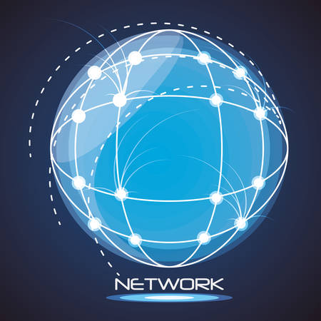 network globe social connections with date information vector illustration Illustration