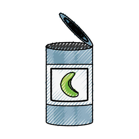 gray: Food can product icon vector illustration graphic design.