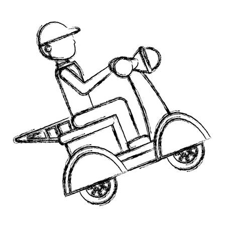 Motorcycle courier vehicle icon vector illustration graphic design