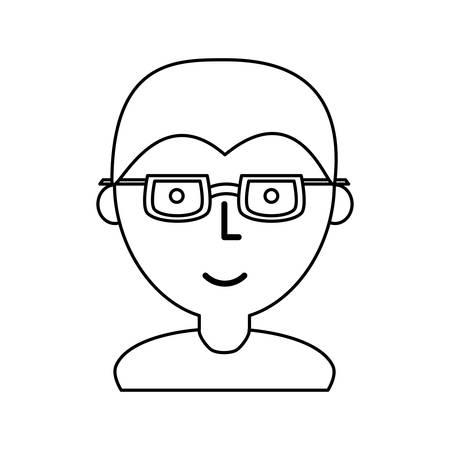 Man with glasses cartoon icon vector illustration graphic design Ilustração