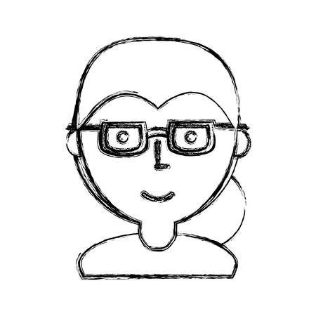 Woman with glasses cartoon icon vector illustration graphic design