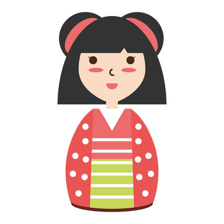 anime young: Cute woman japanese cartoon over white background icon Illustration