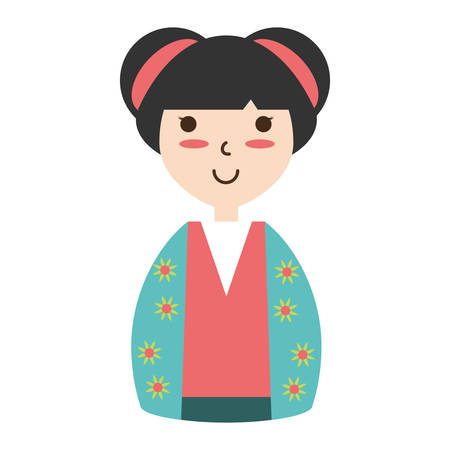 Cute woman japanese cartoon over white background icon Illustration