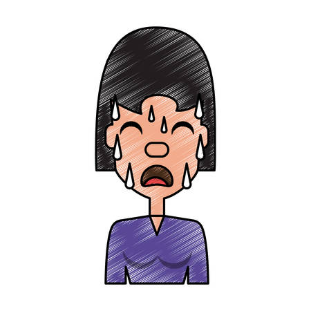 Woman with heart attack face background vector illustration