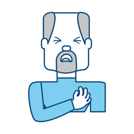 heart disease: Man with heart attack face cartoon over white background icon