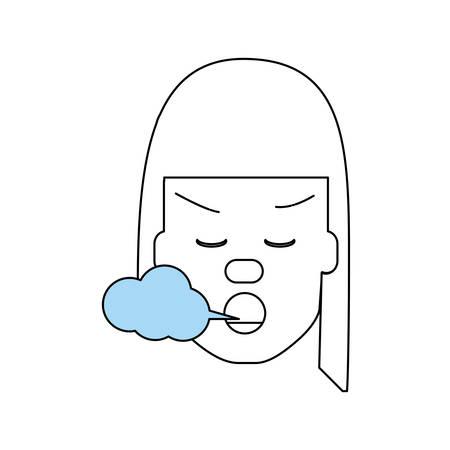 smoking woman: Woman smoking cartoon over white background icon