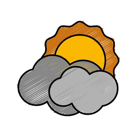 sun and clouds icon over white background vector illustration
