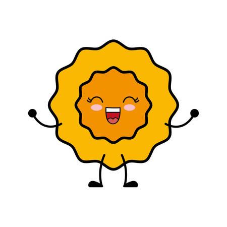 kawaii sun icon over white background vector illustration