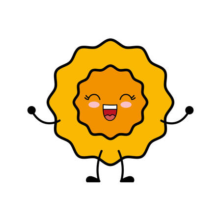 kawaii sun icon over white background vector illustration