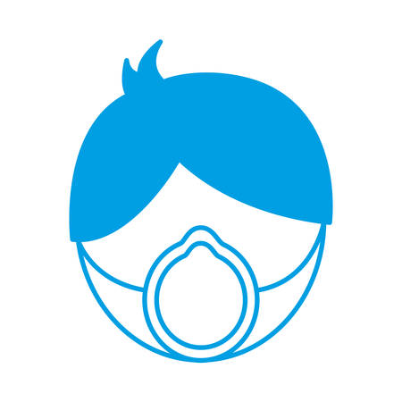 man with medical mask icon over white background vector illustration