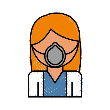 woman with medical mask icon over white background vector illustration
