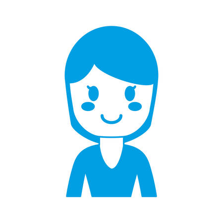 cartoon woman face smiling icon over white background vector illustration