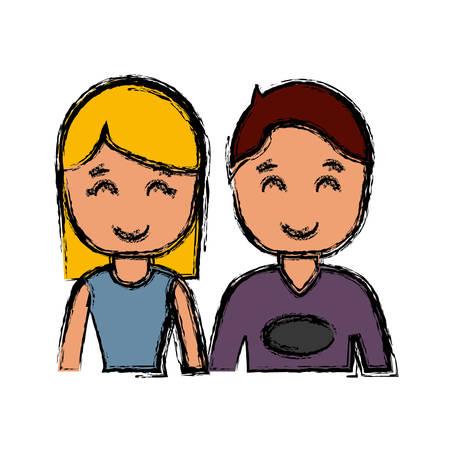 happy couple icon over white background colorful design vector illustration