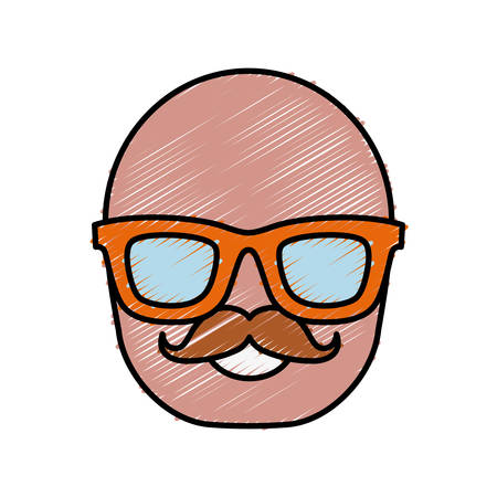 man wearing glasses icon over white background colorful design vector illustration