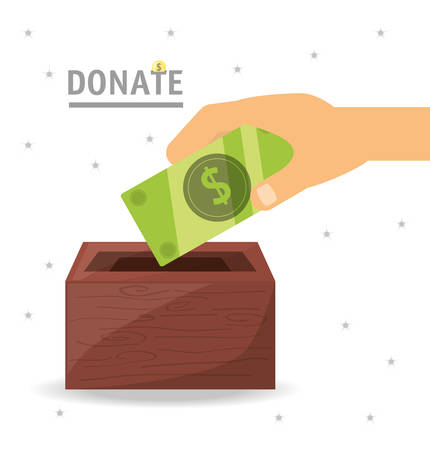 cash money donation support to charity of the people vector illustration