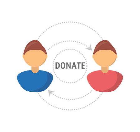 charity collection: donation support symbol to charity of the people vector illustration