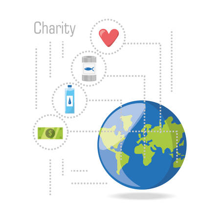 beneficence: donation support symbol to charity of the people vector illustration