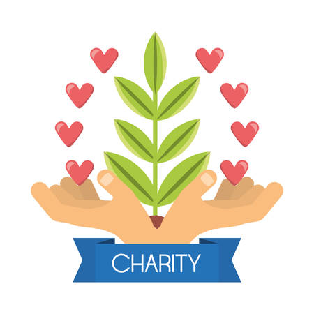 donation support symbol to charity of the people vector illustration