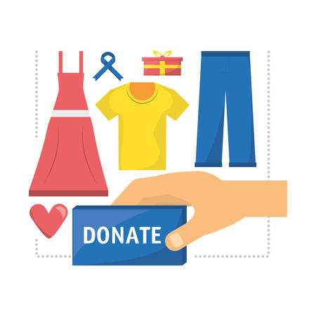 beneficence: clothes donation support to charity of the people vector illustration Illustration