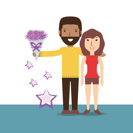 couple lover with romantic bouquet flowers vector illustration