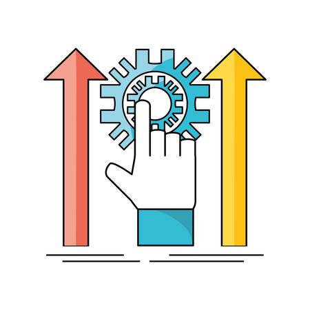 development process and social teamwork data vector illustration