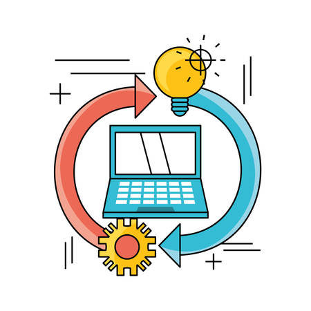 technology teamwork to development process vector illustration Illustration