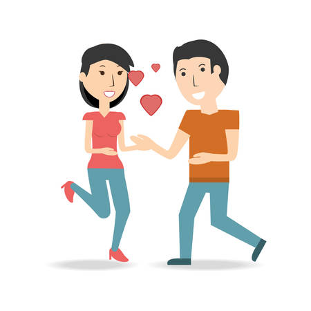 couple lover and romantic relationship with hearts vector illustration