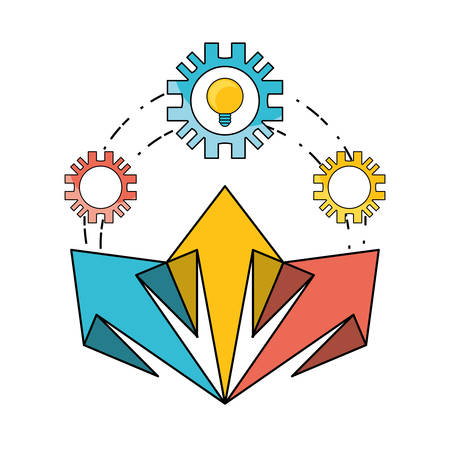 development process and social teamwork data vector illustration