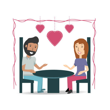 pareja comiendo: couple lover and romantic relationship with hearts vector illustration