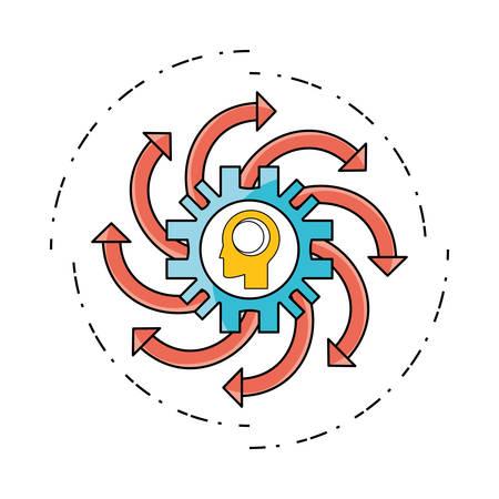 technology data process to teamwork development vector illustration