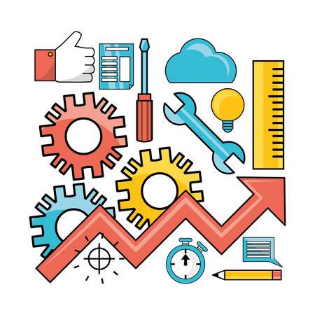 set data process with teamwork development process vector illustration