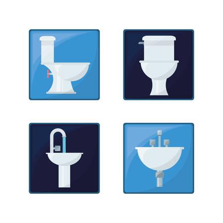 flat set icon bathroom design vector illustration