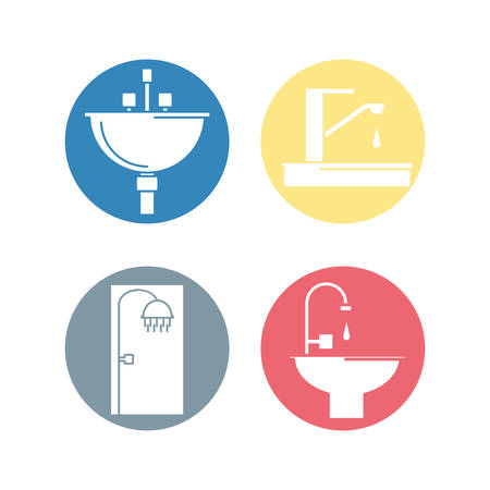 shower stall: flat set icon bathroom design vector illustration