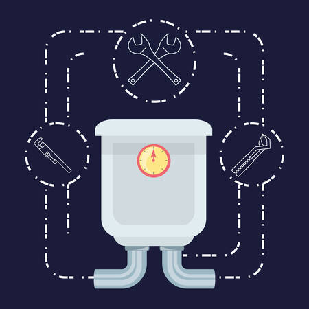 flat set icon tools plumbing vector illustration Ilustração