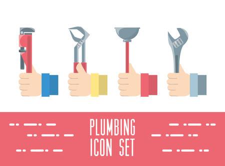 flat set icon tools plumbing vector illustration Illustration