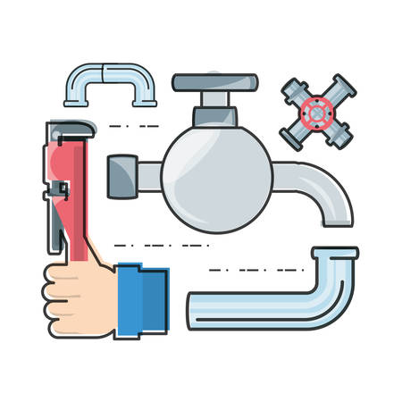 tube wrench: flat set icon tools plumbing vector illustration Illustration