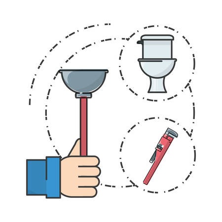 leaking: flat set icon bathroom and tools plumbing vector illustration