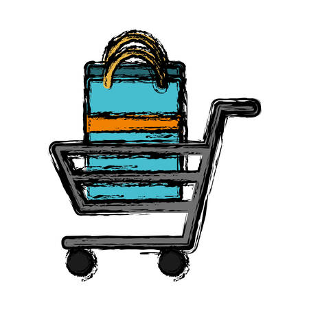 shopping bag vector: Supermarket trolley with shopping bag icon over white background vector illustration