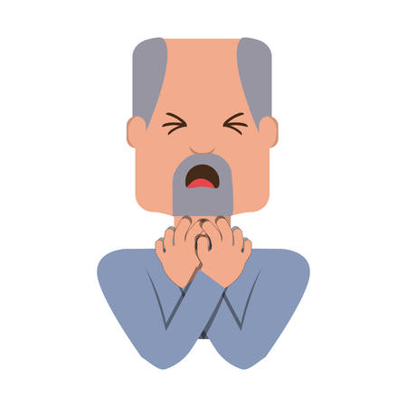Man with heart attack face cartoon over white background icon