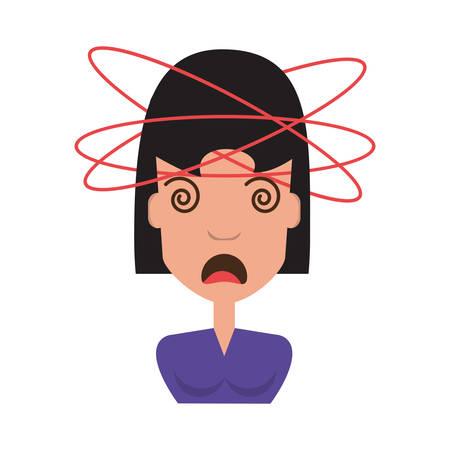 Cartoon donna pazza sopra icona di sfondo bianco Vettoriali